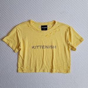 Kittenish Leopard Logo Yellow Tee